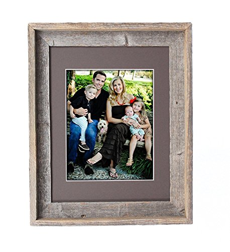 BarnwoodUSA 11 by 14 Inch Signature Picture Frame for 8 by 10 Inch Photos - 100% Reclaimed Wood, Weather Wood Mat - Tabletop Weather Glass