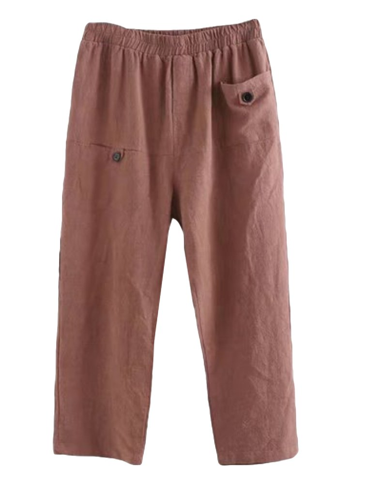 Minibee Women's Elastic Waist Casual Crop Linen Pull On Pants Wine L