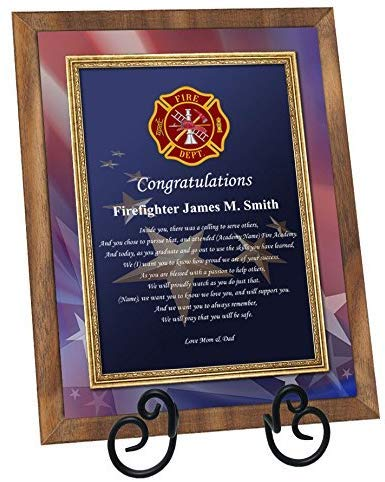 AllGiftFrames Firefighter Academy Graduation Gift Fire School Graduate Present Walnut Plaque with Easel Personalized Fireman Poetry Fire Fighter Student (Regular 8x10)