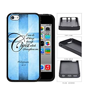 Philippians 4:13 Bible Verse with Cross and Blue Grunge iPhone 5c Rubber Silicone TPU Cell Phone Case by runtopwell