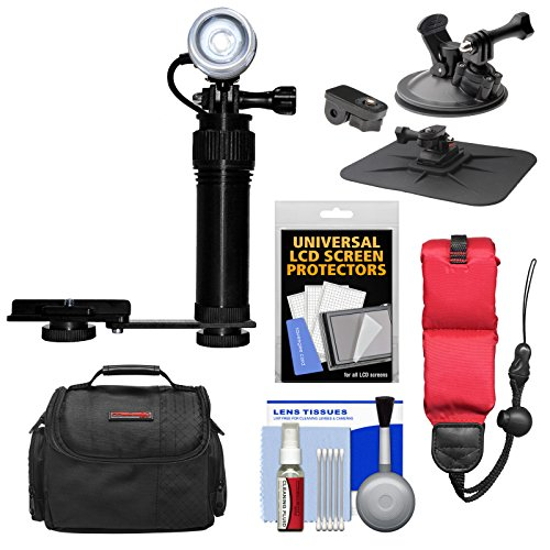 Intova Underwater LED Action Video Light with Camera Bracket Mount with Car Suction Cup & Dashboard Mounts + Floating Strap + Case + Kit by Intova