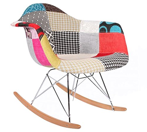 smartmod modern upholstered eames style rocker armchair multi color patchwork pattern with. Black Bedroom Furniture Sets. Home Design Ideas
