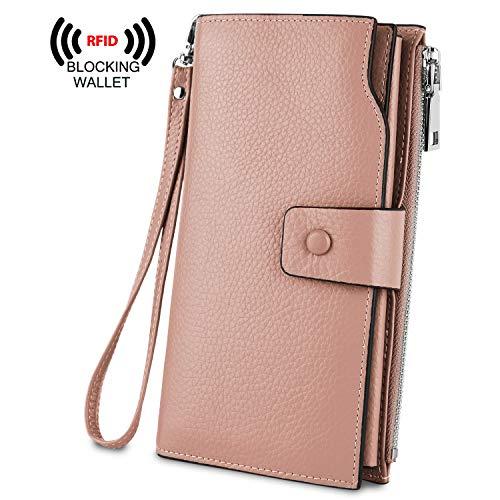 - YALUXE Women's Genuine Leather RFID Blocking Large Capacity Luxury Clutch Wallet Card Holder Organizer Ladies Purse Wallets for women