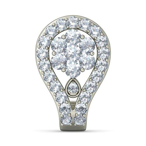 18K Or Blanc 1,17carat au total Round-cut-diamond (IJ | SI) Boucles d'oreilles créoles