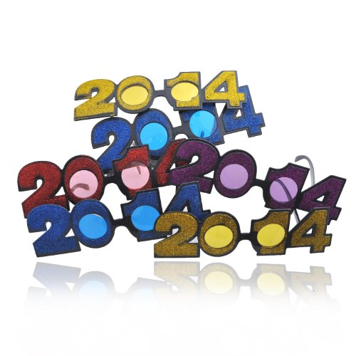 New 2014 New Year Glittering Fun Party Glasses Set of 6 Random Color (Glasses 2014)