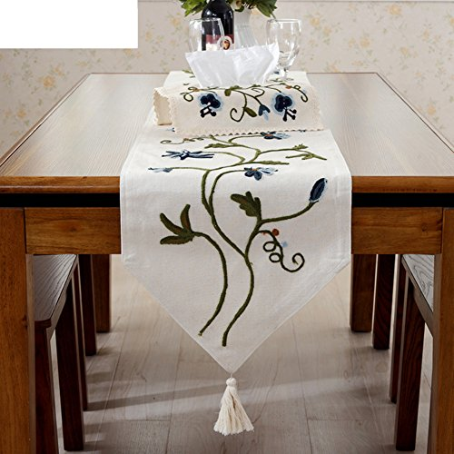 Beaded Dimensional Embroidery (Dimensional embroidery table runner/Garden tablecloth/Coffee table flag-A 40x200cm(16x79inch))