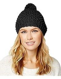 Women's Rampage Lurex Knit Pom Beanie Black One Size