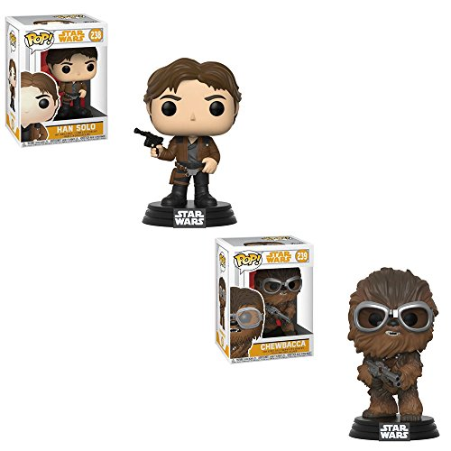 Disney Bobble Heads - Funko POP! Disney Solo A Star Wars Movie: Han Solo and Chewbacca Bobble-Head Toy Action Figure - 2 POP BUNDLE