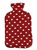 Pluchi Dots All The Way Red & Natural Knitted Cotton Supersoft Hot Water Bottle Cover for 2 litres Water Bottle 14x7.5'' (35x19cm) Cover with Zipper Only, No Bottle