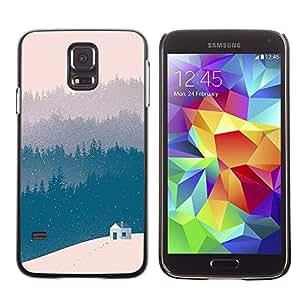 Paccase / SLIM PC / Aliminium Casa Carcasa Funda Case Cover para - Blue Winter Forest View Beige - Samsung Galaxy S5 SM-G900
