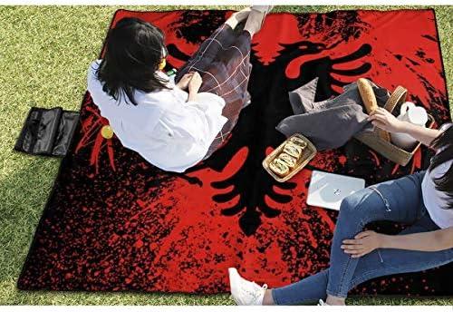GuyIvan Bandiera albanese e Aquila Calva da Picnic Coperta da Spiaggia Impermeabile per Gite nelle spiagge da Picnic 145X150cm