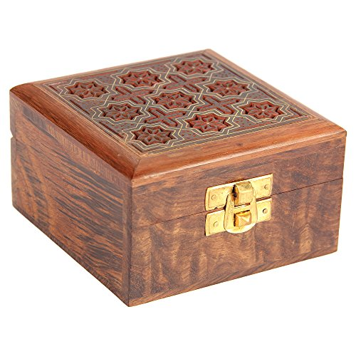 Indian Jewelry Holder - 4 x 4 x 2.25 Inch Small Wood Box - Jewelry Boxes for Bracelet - Present for Her by ShalinIndia