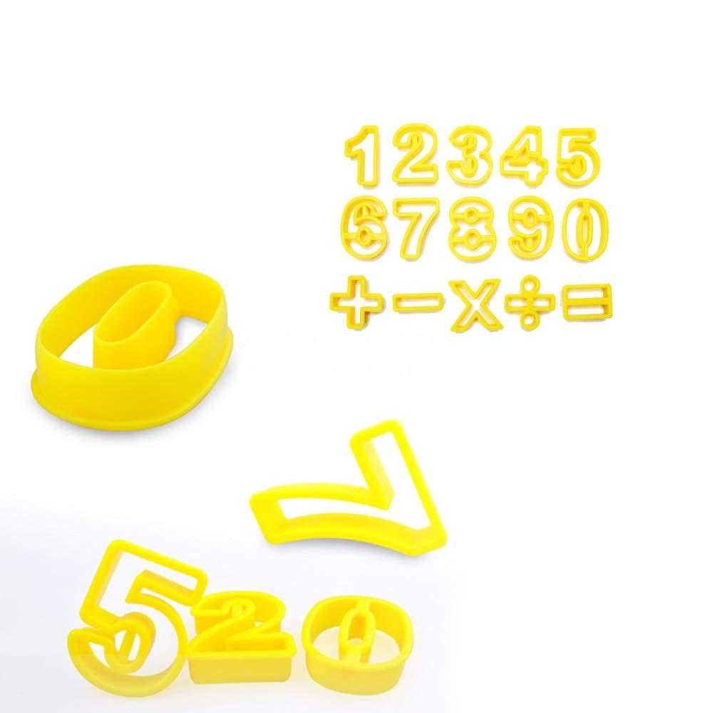 Zoomy Far: 15PCS / Set Küchenzubehör Fondant Kunststoff Ziffer Ausstecher Zahlen Digitale Symbol Plätzchen Stamp Moldes