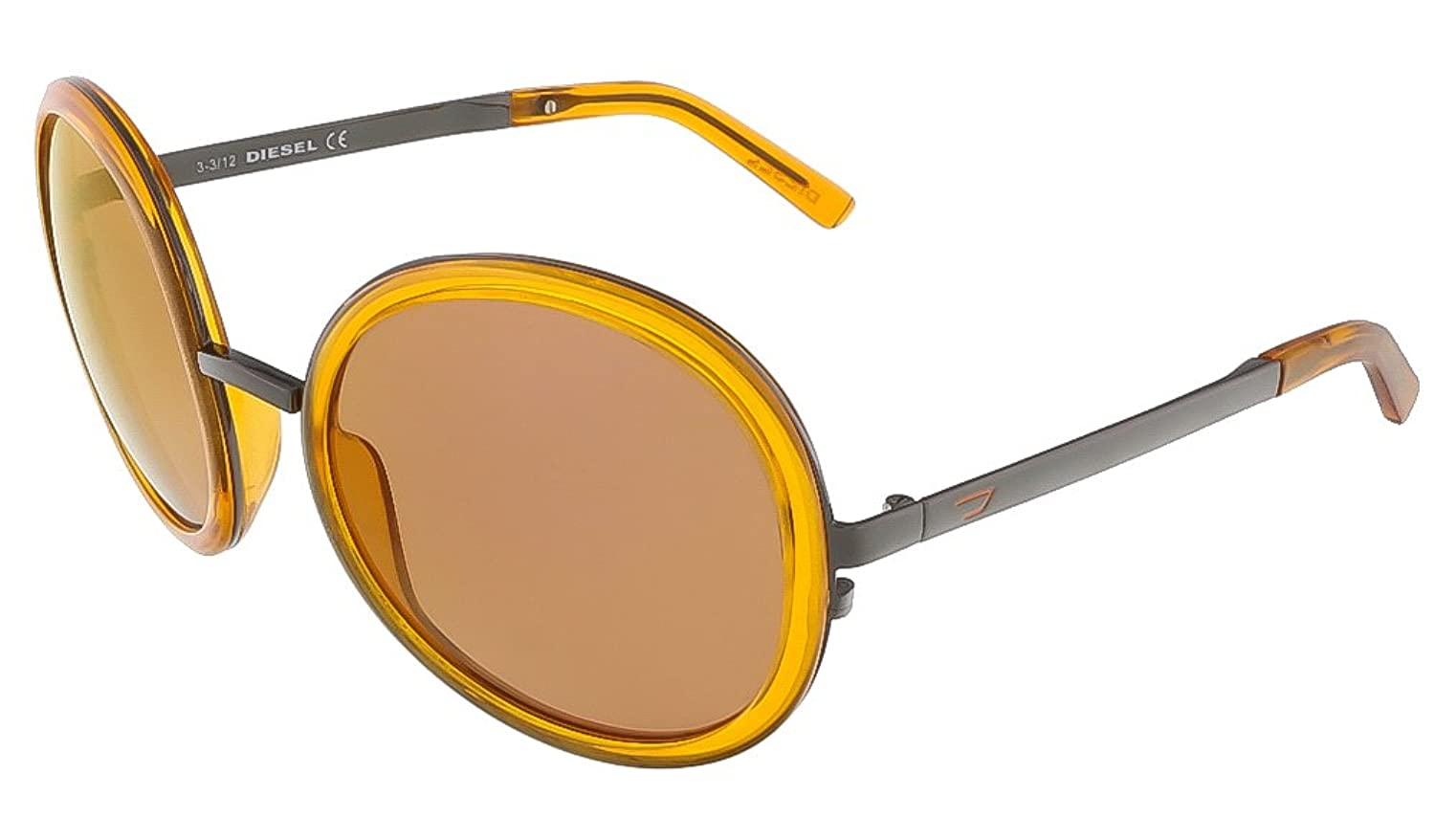 Diesel Women's DL0069 Metal Round Sunglasses ORANGE 57