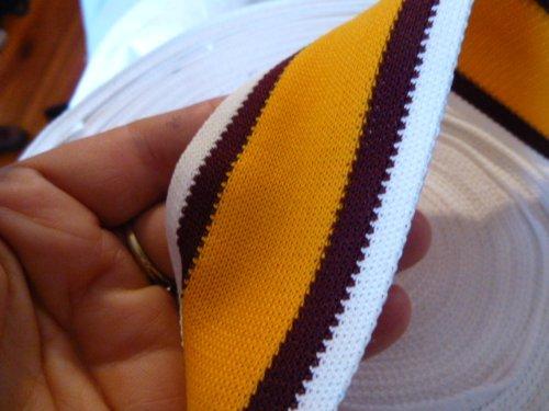 (Orange with Dark Brown and White Stripes Duraknit Medium Weight Stretch Nylon Sewing Webbing)