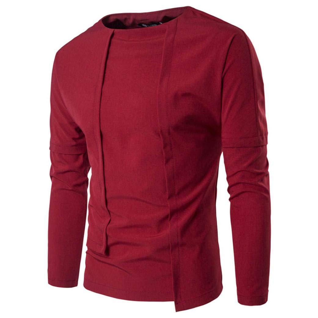 NRUTUP Solid Shirt Men's Slim Long Sleeve Shirt Sweatshirt For Boys Casual Fashion Blouse 2018 New Autumn Winter Top (Red, L)