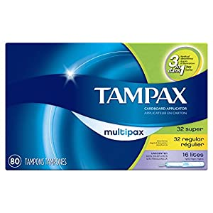 Tampax Cardboard Tampons, Multipack, Light/Regular/Super Absorbency, Unscented, 80 Count