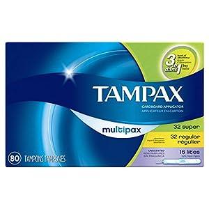 Tampax Cardboard Tampons, Multipack, Light/Regular/Super Absorbency, Unscented, 80 Count