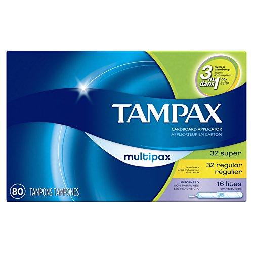 Amazon.com: Tampax Cardboard Tampons, Multipack, Light/Regular/Super Absorbency, Unscented, 80 Count: Prime Pantry