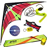Prism Hypnotist Dual Line Framed Stunt Kite with 40' Tail & DVD Bundle (4 Items) + Prism 40ft RipStop Streamer Tail Yellow + DVD + WindBone Kiteboarding Lifestyle Stickers + Key Fob (Fire)