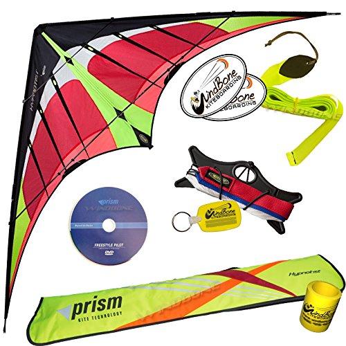 Prism HypnotistデュアルラインFramed Stunt Kite with 40 ' Tail & DVDバンドル( 4 Items ) +プリズム40 ftリップストップStreamer Tailイエロー+ DVD + WindBone Kiteboardingライフスタイルステッカー+キーFob オレンジ PRHYPT, PRSFRST40Y, WBKLPK32 B07914CTWL ファイア