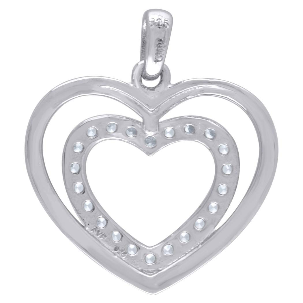 Measures 21.6x19.2mm Wide 925 Sterling Silver CZ Polished Double Heart 1.52gm Womens Charm Pendant
