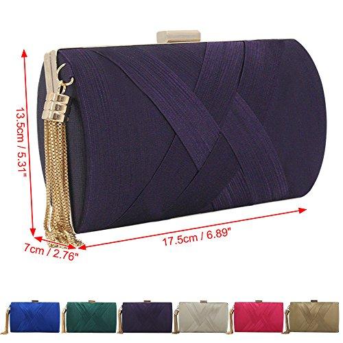 Purse Handbag Purple Party Wiwsi Evening Ladies Girl Wallet Gold Clutch Bag Wedding Designer EwvqHq4