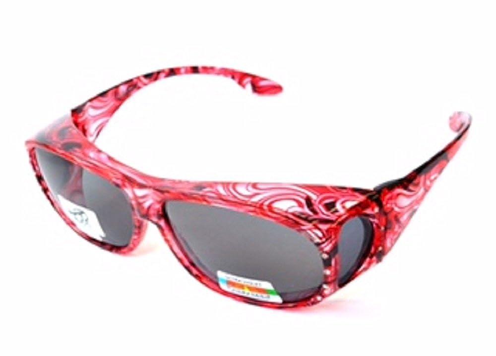 bc54fcffac32 Amazon.com: Polarized Rhinestone Sunglasses Large Fit Over Oval Rectangular  -Deep Red: Clothing