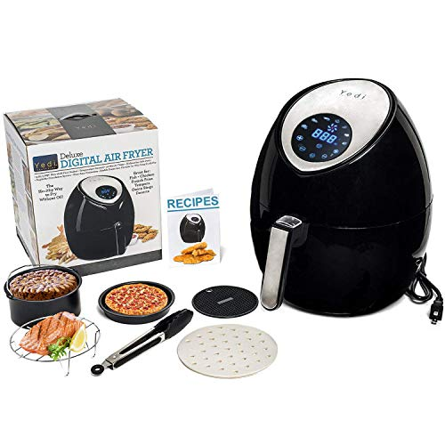 Total Package Air Fryer, 8-in-1 Digital Screen, with Endless Recipes, and Deluxe Accessory Kit by Yedi Houseware (3.7QT)