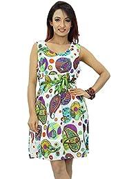 Cotton Women Casual Knee Long Dress Printed Beach Summer Sundress