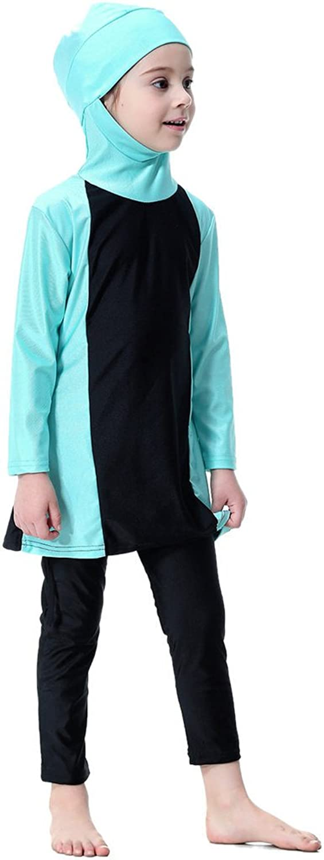 Ababalaya Muslim Girls 2-Piece Full Cover Color Block Conservative Hijab Burkini Swimsuit