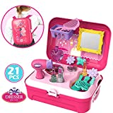 Buyger 21 PCS Plastic Pretend Makeup Toys Princess Role Play Cosmetic Play Set Backpack Fashion Hair Dryer Kids