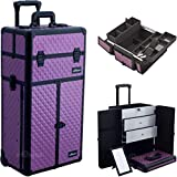 SunRise I3266DMPLB Purple Diamond Professional Rolling Aluminum Cosmetic Makeup Craft Storage Organizer Case French Door Opening with Large Drawers and Easy Slide and Extendable Trays with Dividers