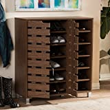 Baxton Studio Shirley Contemporary Wood 2-door Shoe Cabinet with Open Shelves Walnut