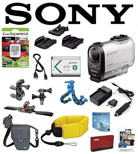 Sony FDR-X1000V/W w/ Action Pro Series All-In-1 Bike Kit, Battery, Flexpod, LowePro Case, Floating Strap, 32GB FDRX1000VW X1000VW FDR-X1000V 4K Action Cam