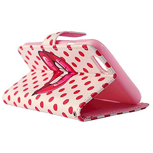 """Flip Case Cover Wallet Folio Schutzhülle für iPhone 6 4.7"""" Zoll Rot Lippen Design Pink Tasche Ledertasche Hülle Handyhülle Etui Schale Backcover im Bookstyle mit Standfunktion Kredit Kartenfächer"""