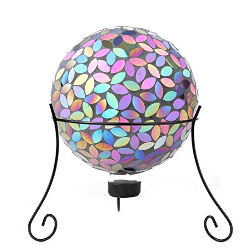 Lily's Home Colorful Mosaic Glass Gazing Ball, Designed with a Stunning Holographic Petal Mosaic Pattern to Bring Color to Any Home and Garden, Silver & Purple (10 Inches Dia.) by Lilyshome (Image #2)