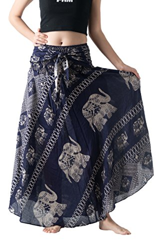 B BANGKOK PANTS Women's Long Maxi Hippie Skirt Boho Gypsy Dress Bohemian Clothing Beach Wear Elephant Design Asymmetric Hem (Navy Elephant, One Size)
