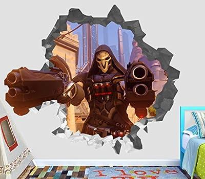 Overwatch Weapon Wall Decal Smashed 3D Sticker Vinyl Decor Mural Games - Broken Wall - 3D Designs - OP242