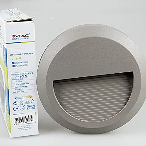 Lámpara aplique V-TAC LED SMD pared segnapasso 2 W 60LM 55 ° redondo IP65 vt-1142 G - SKU 1318 blanco cálido 3000 K: Amazon.es: Iluminación