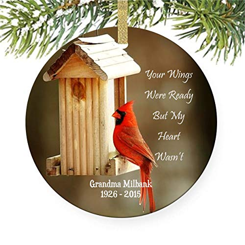 Cardinal Memorial Christmas Tree Ornament, Your Wings Were Ready But My Heart - Personalize Ornaments Memorial Christmas