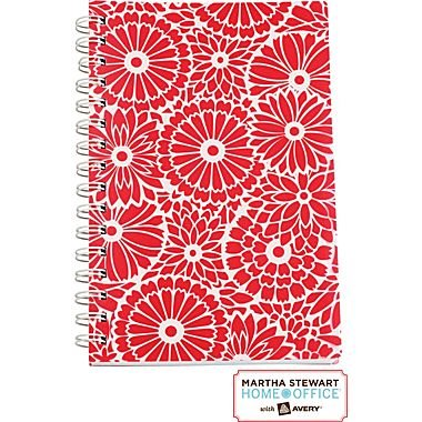 """Martha Stewart Home OfficeTM with AveryTM Floral Notebook, Red, 5-1/2"""" X 8-1/2"""""""