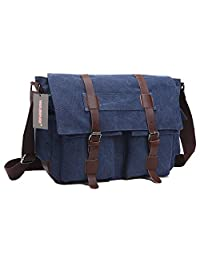 "WASING Vintage Military Men Canvas Messenger Bag for 13.3-17.3"" Inch-Back to School"