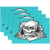 FENNEN Dining Placemats Joy Sugar Skull Table mats Non-Slip Doily Washable TableMats (Set of 6)