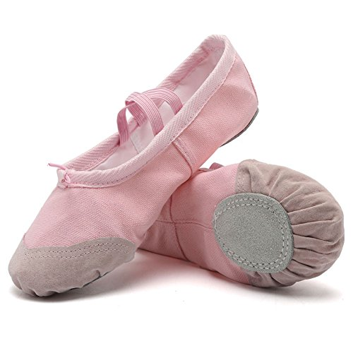 Soles Canvas (CIOR Ballet Slippers for Girls Classic Split-Sole Canvas Dance Gymnastics Yoga Shoes Flats(Toddler/Little Kid/Big Kid),VTW01,pink,33)