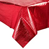 38327 54'' x 108'' Red Metallic Plastic Table Cover - 12/Case By TableTop King