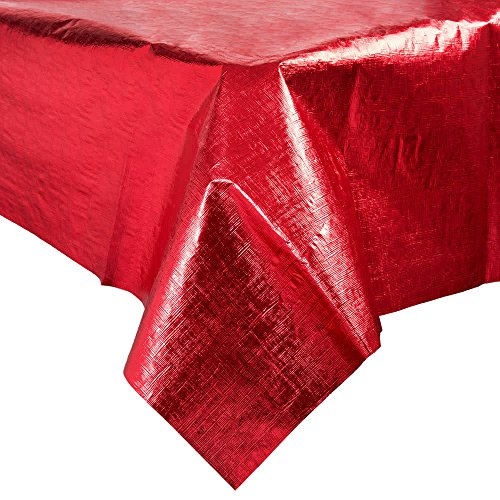 38327 54'' x 108'' Red Metallic Plastic Table Cover - 12/Case By TableTop King by TableTop King