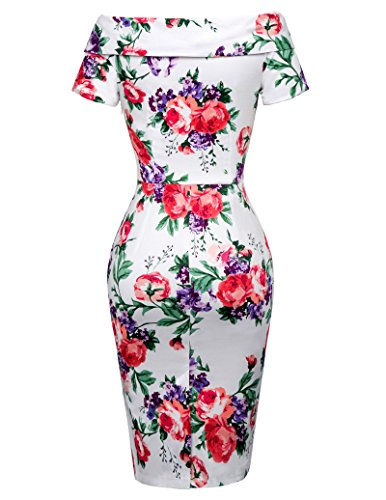 Belle Poque Chic Robe À Fleurs Robe Cocktail Extensible Cru 6 Bp117-6