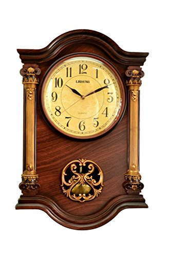Le'raze 22 x 15 x 3-Inch Grandfather Wall Clock with Swinging Pendulum, Mahogany/Gold (Antique Wall Clock Parts)