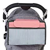 Stroller Organizer, Jelanry Deep Cup Holder Fits All Kinds of Stroller, Keep iPhones Diapers Toyes Wallets Keys Books & iPads with Large Storage Space, Hold Two Bottle Drinks ( Pink )